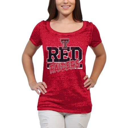 Texas Tech Red Raiders Block Graffiti Women'S/Juniors Team Short Sleeve Scoop Neck Tee Shirt