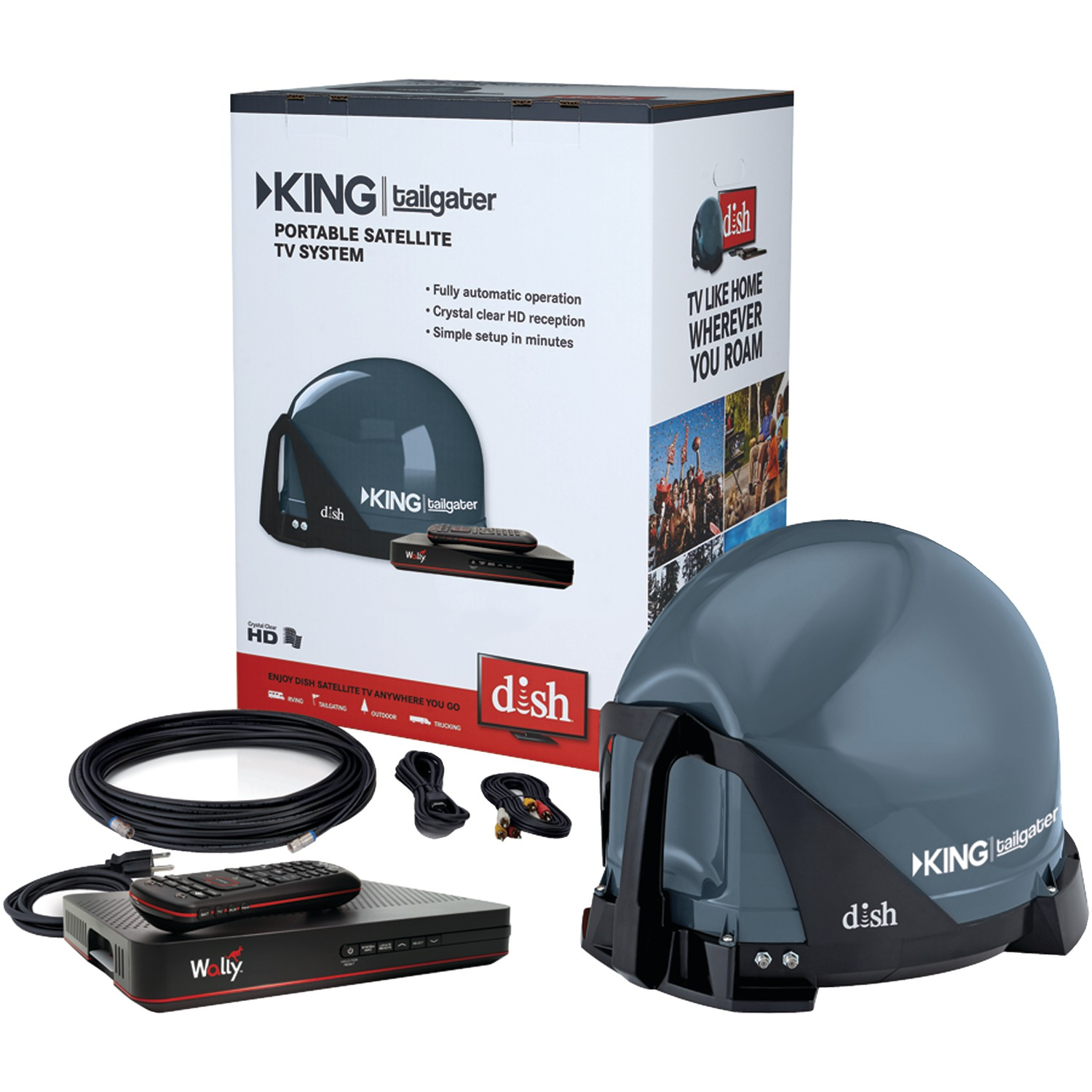KING VQ4550 Tailgater Bundle - Portable Satellite TV Antenna with DISH Wally HD Receiver for RVs, Trucks, Tailgating, Camping and Outdoor