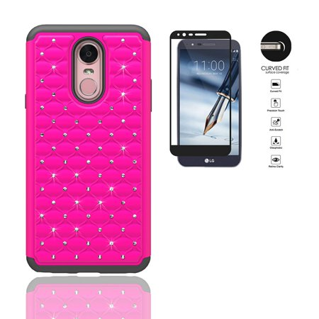 (Phone Case for LG Stylo 4, LG Stylus 4, Studded Rhinestone Diamond Bling Cover Case + Tempered Glass Screen Protector (Pink))