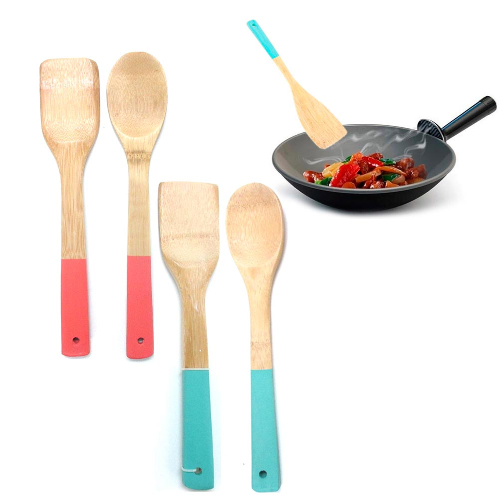 2 Bamboo Spoon Spatula Set Wooden Kitchen Cooking Mixing Tool Utensil Non Stick by PRIDE PRODUCTS