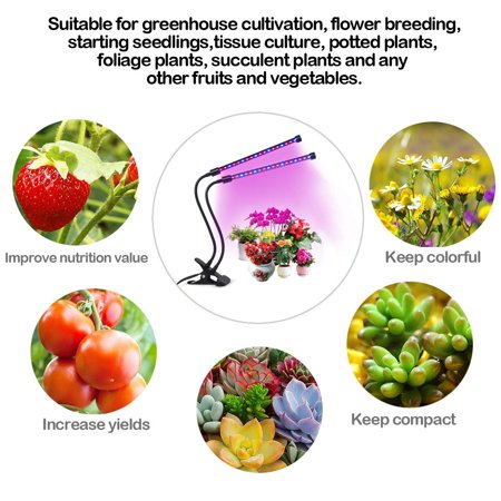 LED Grow Light Full Spectrum Plant Lamp Dual Three Head for Indoor Greenhouse Grow Tent Plants Grow Light with USB Adapter - image 5 de 18