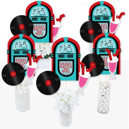 50's Sock Hop - 1950s Rock N Roll Party Centerpiece Sticks - Table Toppers - Set of 15 (Rock Star Centerpieces)