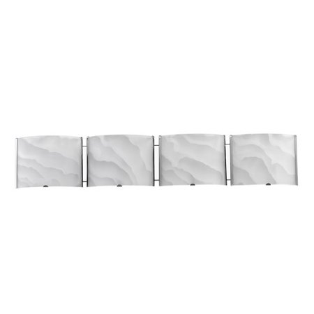 White Transitional Four Light (CHLOE Lighting AMPERE Transitional 4 Light Chrome Metallic Bath Vanity Wall Fixture White Frosted Alabaster Glass 33
