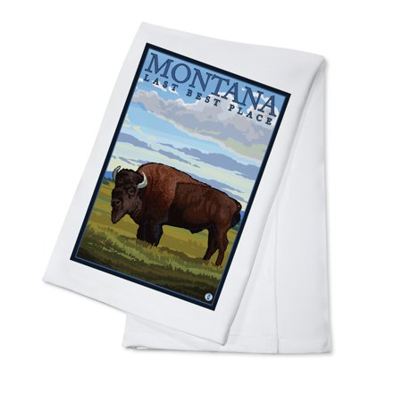 Montana, Last Best Place - Bison - Lantern Press Original Poster (100% Cotton Kitchen (Best Places For Tea In London)