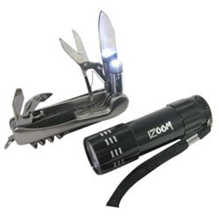 Multi-tool and (9) LED Flashlight Combo Pack By iZOOM