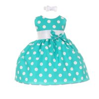 Baby Girls Teal White Polka Dot Bow Sash Headband Special Occasion Dress 12M