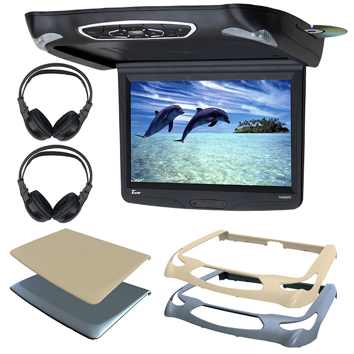 "Tview T141DVFD 14.1"" Flip Down W/builit In Slot Type Dvd Player Three Interchangable Housings [blackgreytan"