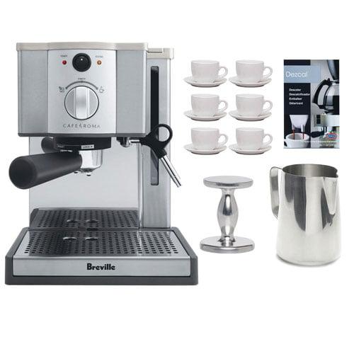 Breville ESP8-XL Cafe Roma Espresso Machine w  Espresso Tamper + 6-Pieces (3 oz.) Cup & Saucer + Accessory Kit by Breville