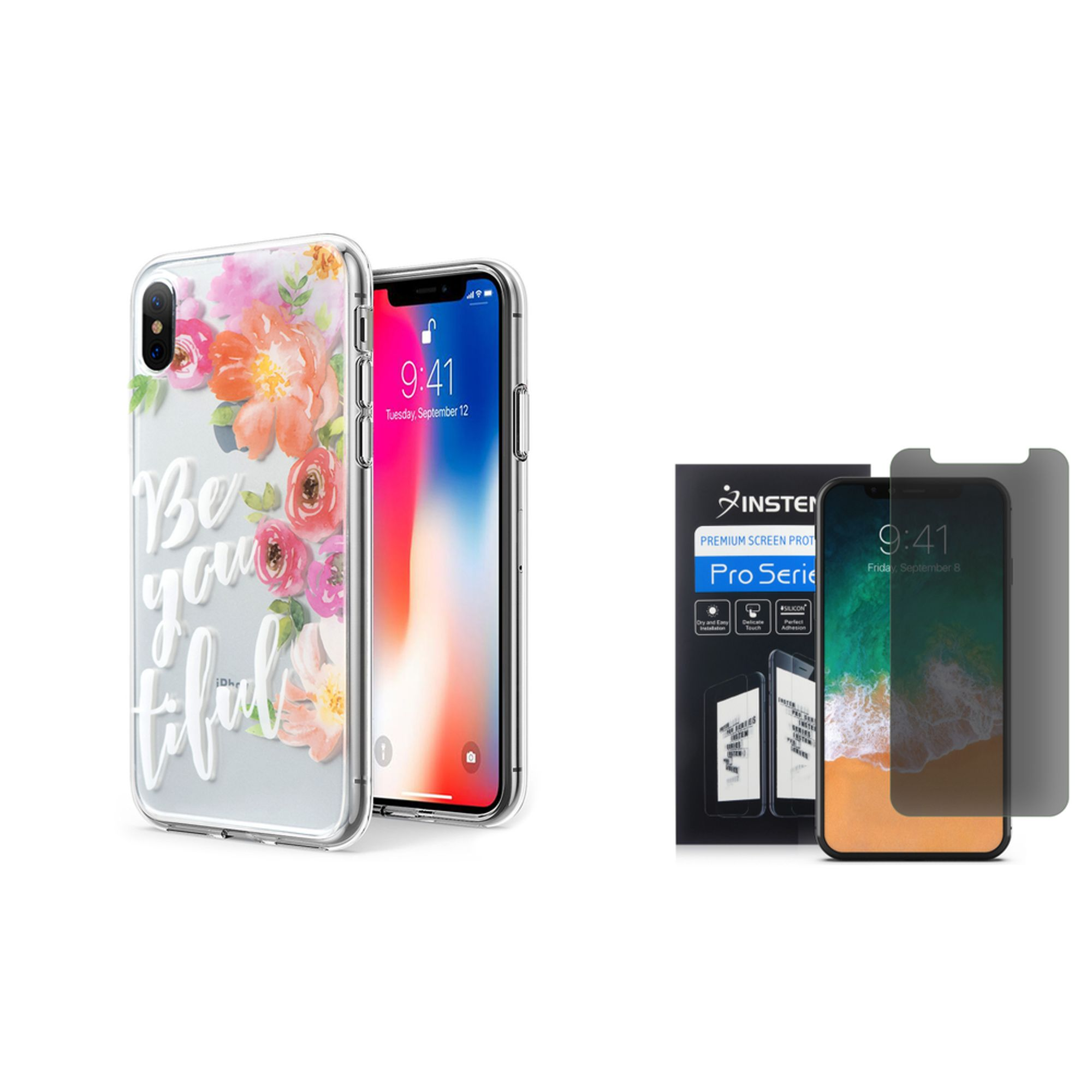 iPhone X Case Screen Protector Combo, by Insten Water Color BE-YOU-TIFUL Rubber Case For Apple iPhone 10 iPhone X 2017 - Multi-Color (Bundle with Screen Privacy Filter)