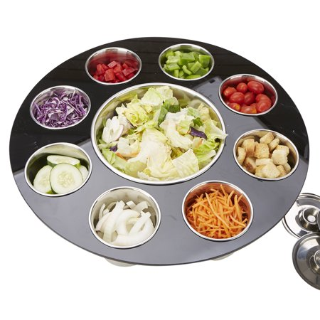 Mind Reader 9 Compartment Salad Serving Tray, Fruit, Veggie & Condiment Caddy, Chips & Dips Holder for Party's, Black](Fruit Dip Easy)