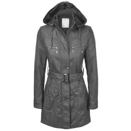 - Made By Johnny WJC741 Womens Hooded Faux Leather Trench Parka Coat XS Gray