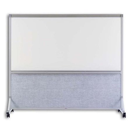 Marsh Industries BB764K205 76 x 48 in. Vinyl White Markerboard Double Duty Space Divider, Pebble Beach