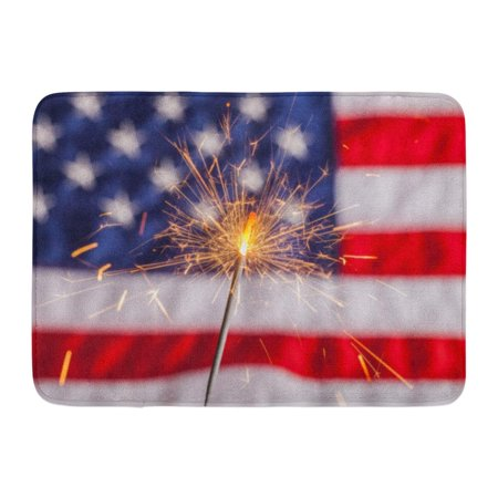 GODPOK 509 Red Flag Fourth of July Sparkler Pyrotechnics American Burning Rug Doormat Bath Mat 23.6x15.7 - Sparklers For Fourth Of July