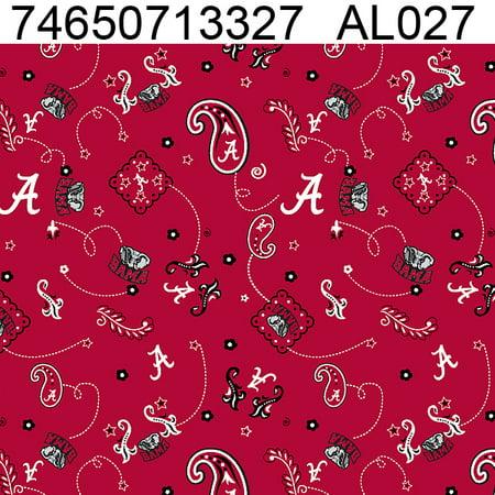 University of Alabama Bandana print on 100% Cotton Broadcloth-Sold by the Yard (Stores That Sell Bandanas)