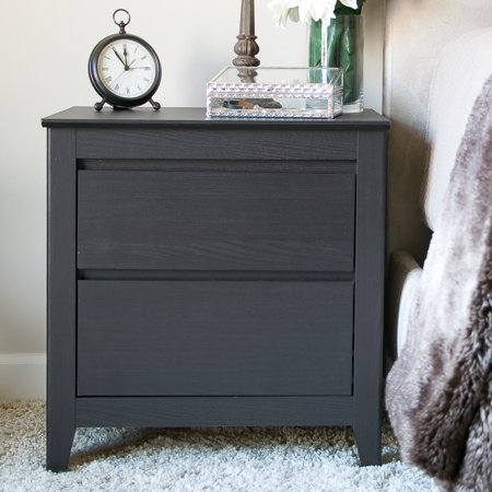 Baxton Studio Carolina Contemporary 2 Drawer Nightstand - Dark Brown Espresso ()