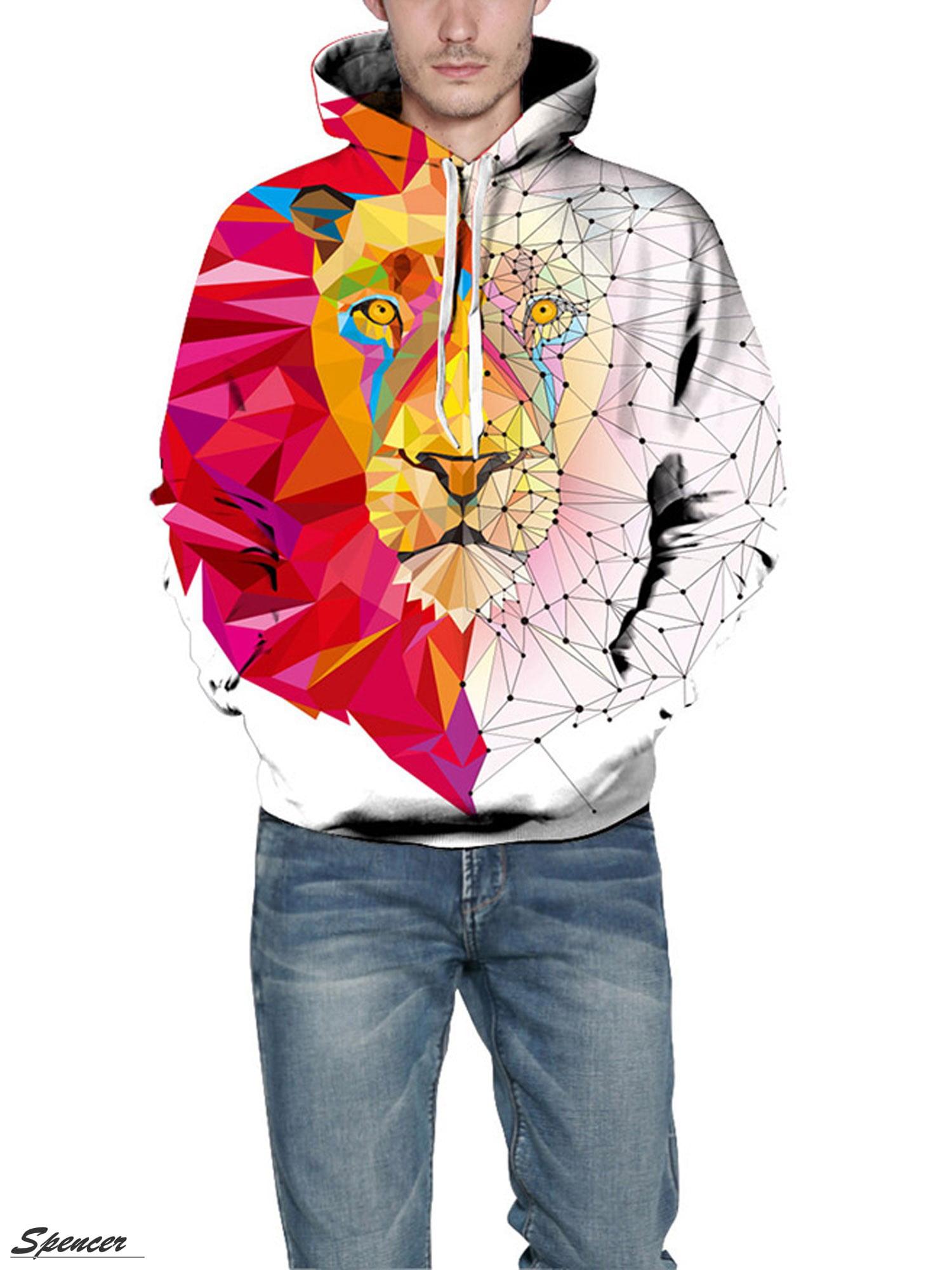 Shark Doodle Men 3D Print Pullover Hoodie Sweatshirt with Front Pocket