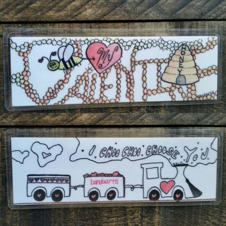 Handmade unique Valentine Book Marker art bee mine Bookmark choose Love train