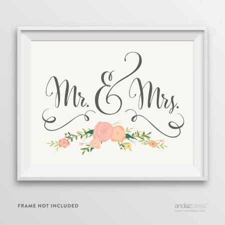 Mr. & Mrs. Floral Roses Wedding Party Signs (Mr & Mrs Signs)