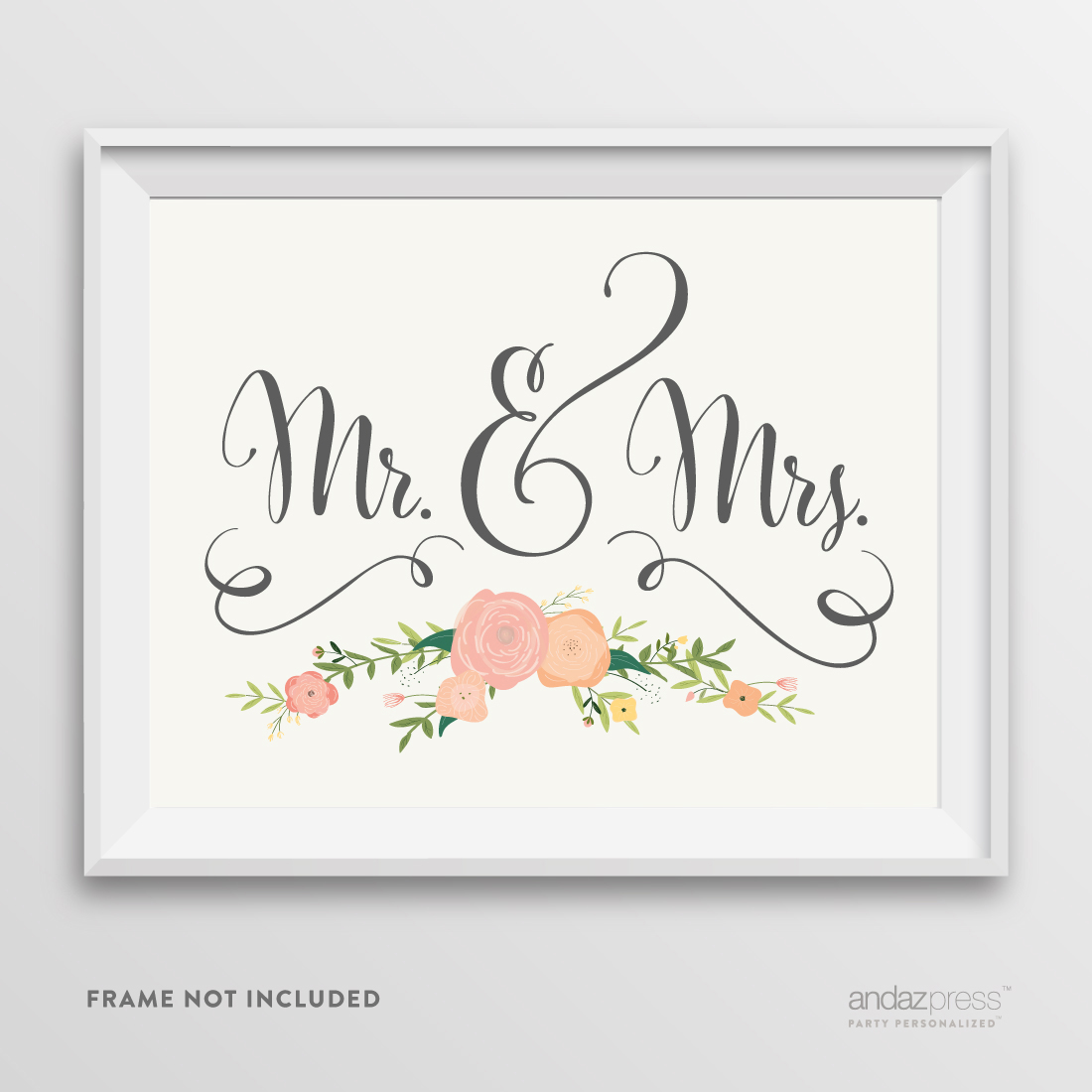 Mr. & Mrs. Floral Roses Wedding Party Signs