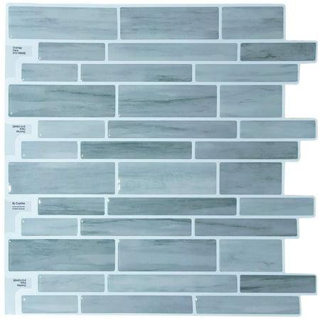 "Discount Bathroom Tiles - Crystiles Peel Stick DIY Backsplash Tile Stick-on Vinyl Wall Tile Kitchen Bathroom, Item #91010848, 10"" X 10"", 6 Sheets Pack"