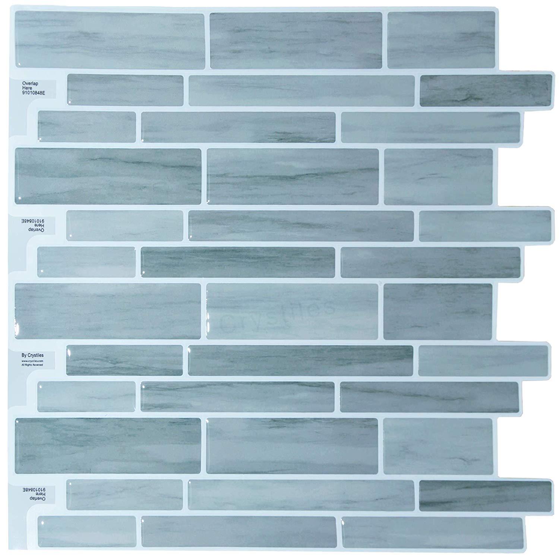 """Crystiles Peel Stick DIY Backsplash Tile Stick-on Vinyl Wall Tile Kitchen Bathroom, Item #91010848, 10"""" X 10"""", 6 Sheets Pack"""