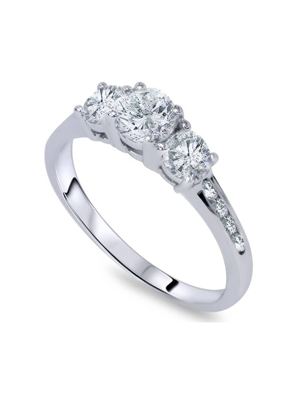 1ct Three Stone Diamond Engagement Ring 14K White Gold by Pompeii3