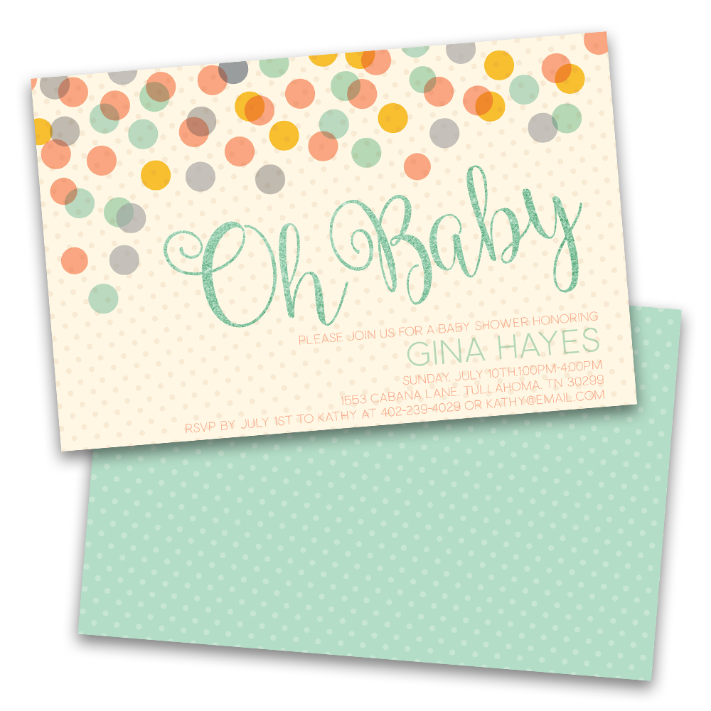 Personalized Oh Baby Dots Personalized Baby Shower Invitations