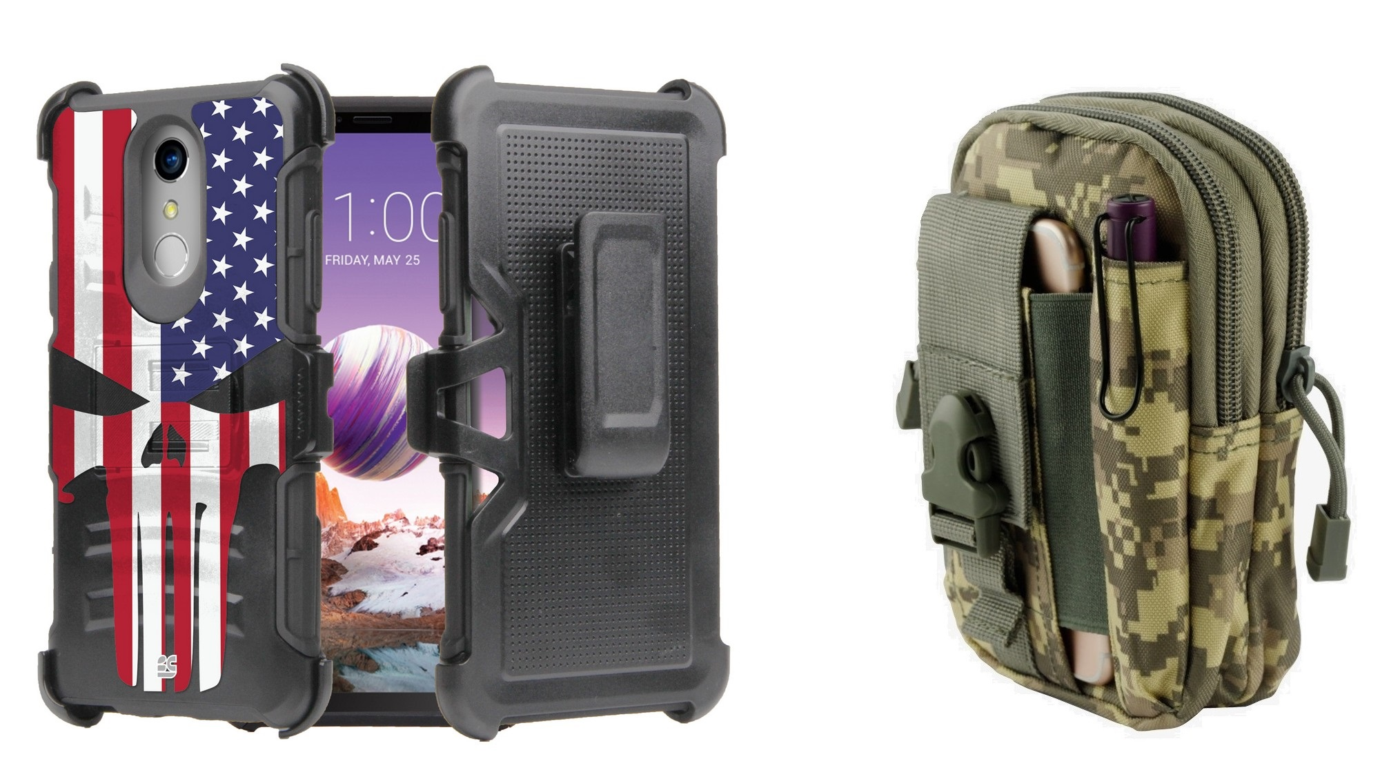 Dual Layer Heavy Duty Armor Kickstand Holster Rugged Case (American Skull  Flag) with ACU Camo Tactical EDC MOLLE Utility Waist Pack Holder Pouch,  Atom
