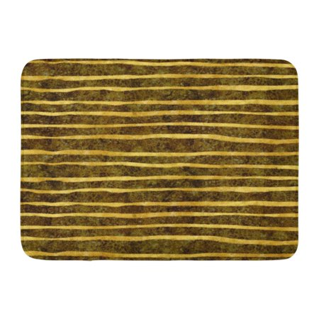 GODPOK Sparkle Glitter Gold and Black Torn Stripes Faux Foil Metallic Pattern Shiny Rug Doormat Bath Mat 23.6x15.7 inch