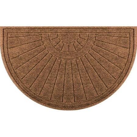 Half Round Sunburst - Aqua Shield 20260522439 24 x 39 in. Sunburst Half Round Doormat - Dark Brown