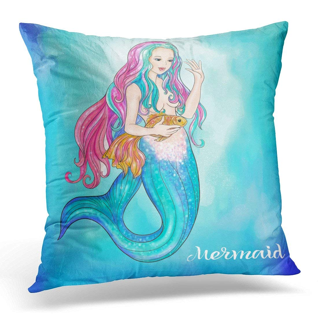 USART Undersea Mermaid Holding Gold Fish on Watercolor Linen Color Beautiful Pillow Case Pillow Cover 20x20 inch