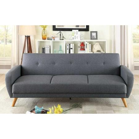 Blue grey fabric adjustable sofa bed futon walmartcom for Walmart grey sectional sofa