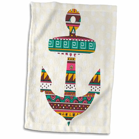 3dRose Tribal pattern anchor in yellow and turquoise teal green on polka dots - nautical marine sea theme - Towel, 15 by 22-inch