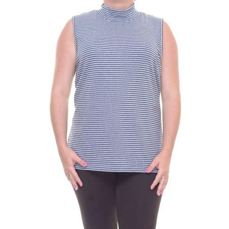 Karen Scott Striped Turtle-Neck Sleeveless Top Size