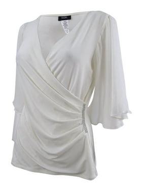 0515a760ea2e Product Image MSK Women's Embellished Flutter-Sleeve Blouse (M, Ivory)