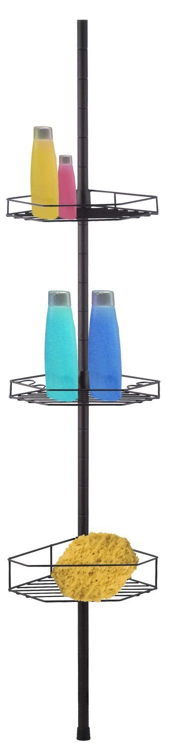 3-Tier Tension Rod Shower Caddy, Bronze, Store and organize all of you bathroom essentials... by