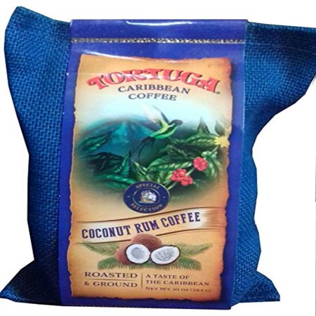 Tortuga Caribbean Coffee- Roasted and Ground 10oz (Coconut Rum Coffee)