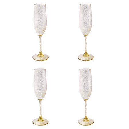 Mainstays Acrylic Gold Confetti Glitter Champagne Flute, Set of 4, -