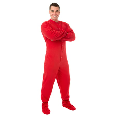 Big Feet PJs Red Micro-polar Fleece Adult Footed Pajamas w/ Drop (Red Footed Pajamas For Adults With Drop Seat)