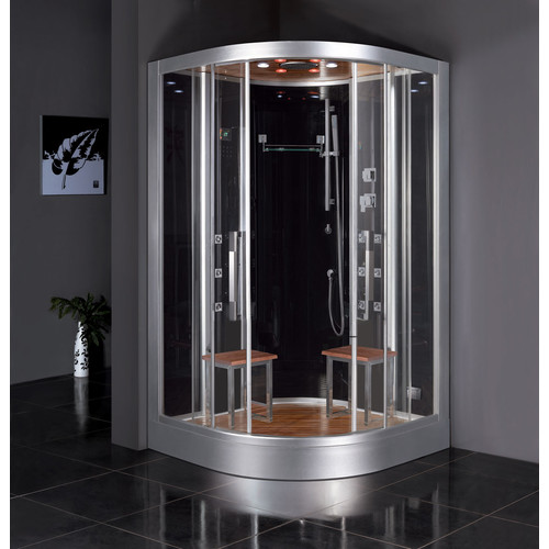 Ariel Bath Platinum 47.2'' x 89'' Round Sliding Steam Shower with Base Included
