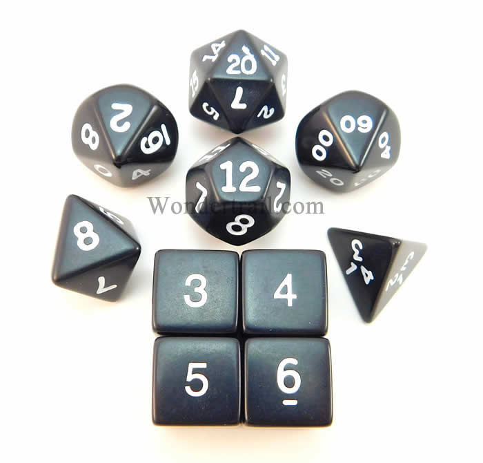 Black Opaque Dice with White Numbers 16mm (5/8in) Set of 10 Koplow Games