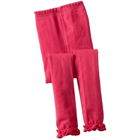 Jefferies Socks Girls Hot Pink Ruffle Trim Cotton Footless Tights - Hot Teen Tights