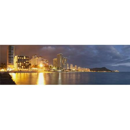 Waikiki Beach Just After Sunset - Honolulu Oahu Hawaii United States of America Poster Print - 44 x 14 in. - (Vintage United Waikiki Poster)