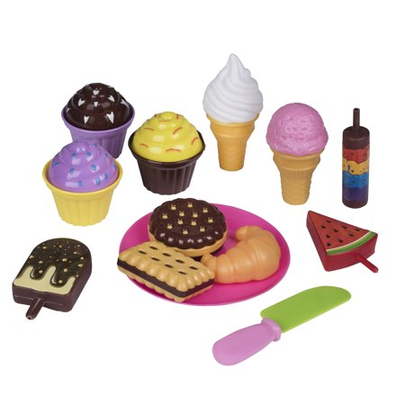 Toys Cupcake - Playkidz Pretend Pastry Food, Pretend Play Set Toy Food, Educational Fun Little Pastries for Childrens Play Kitchen, Assortment of Fake Cookies, Cupcakes, Ice Cream etc.