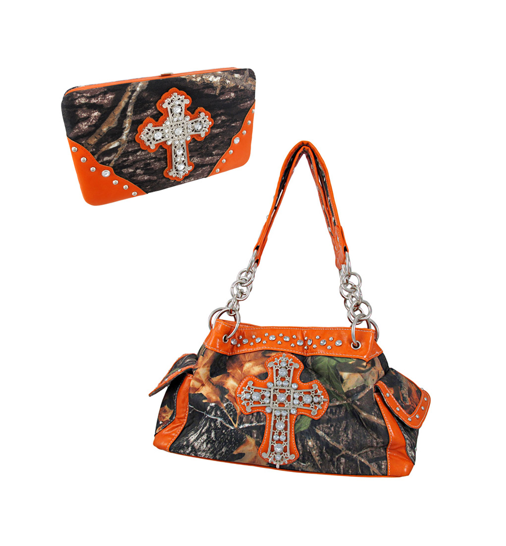 Deep Forest Camouflage Rhinestone Cross Purse / Wallet Set Orange Trim