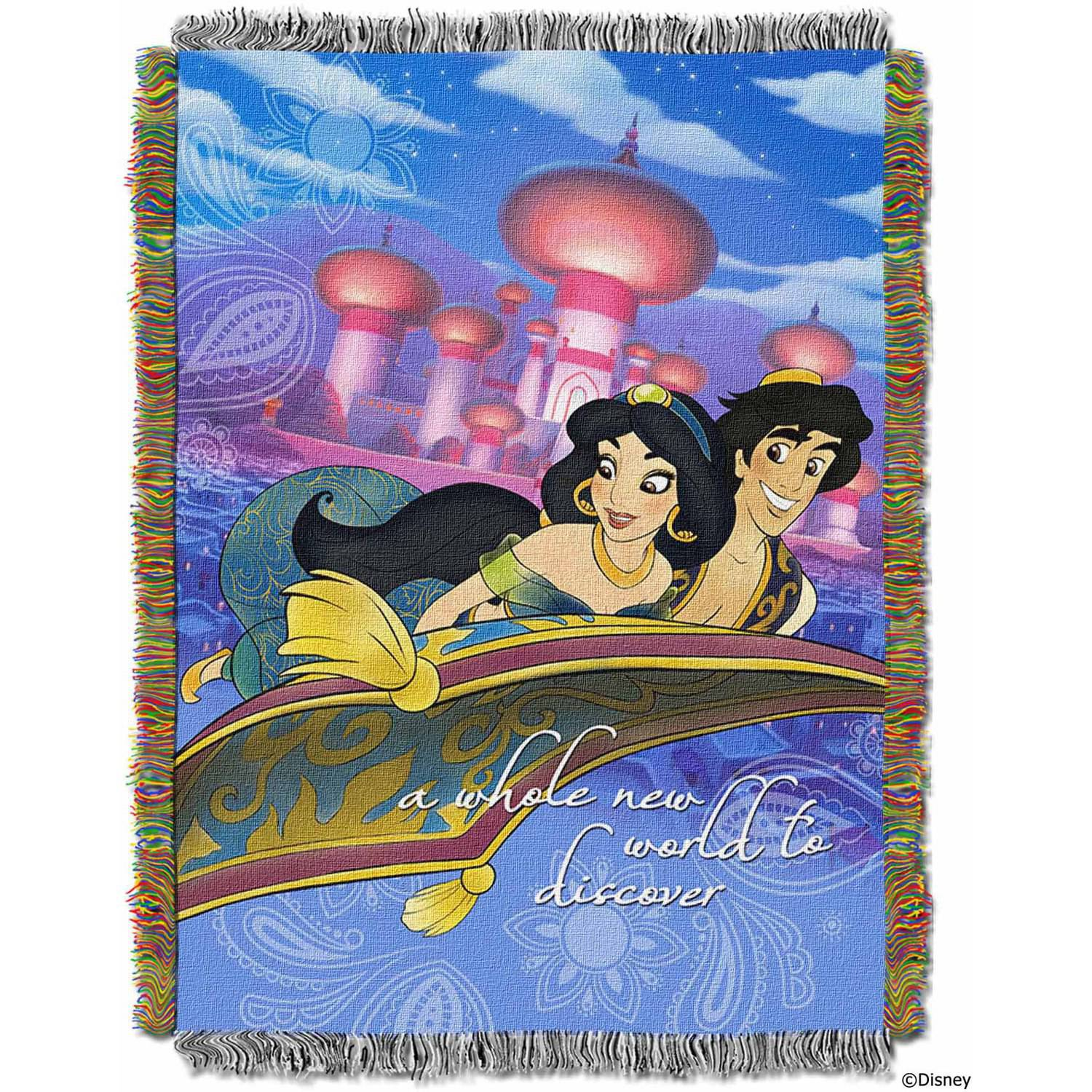 """Disney Aladdin """"A Whole New World"""" 48"""" x 60"""" Woven Tapestry Throw"""