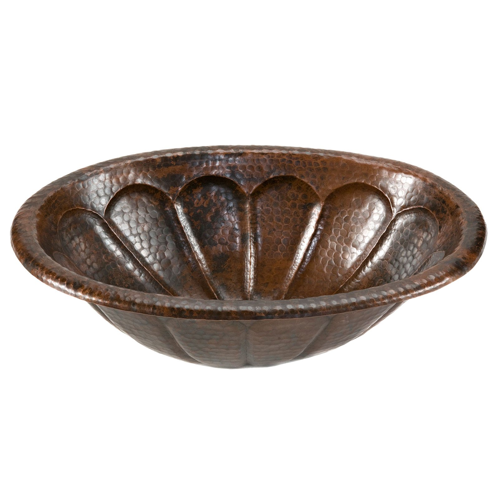 Premier Copper Products LO19RSBDB Oval Sunburst Self Rimming Hammered Copper Sink