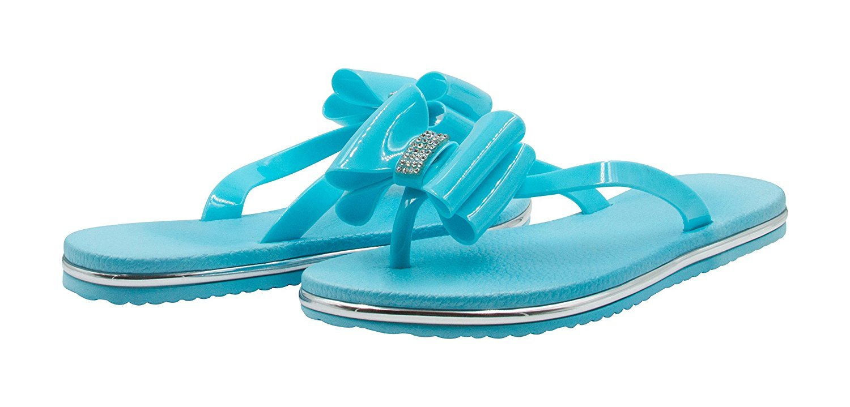 4750787f6f51 Sara Z - Sara Z Girls Bows and Rhinestones Patent Flip Flops With Racing  Stripe Soles Size 4 5 - Walmart.com