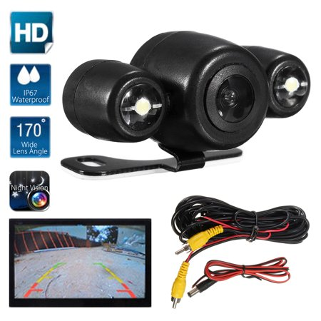 170° HD Car Rear View Parking Camera Reverse Backup Waterproof LED Night Vision 1/4'' Color CMOS Back-up Sight Image