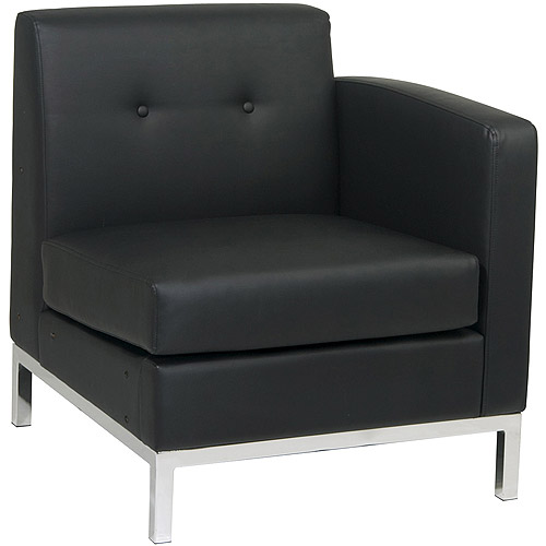 Avenue Six Wall Street Right Arm Facing Chair, Black Faux Leather
